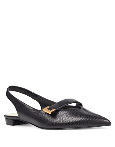 Nine West Amarnto Printed Slingback Flats-BLACK-10