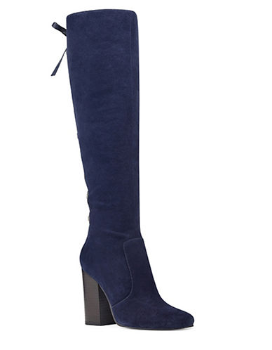 Nine West Calhoun Suede Knee-High Boots-NAVY-5