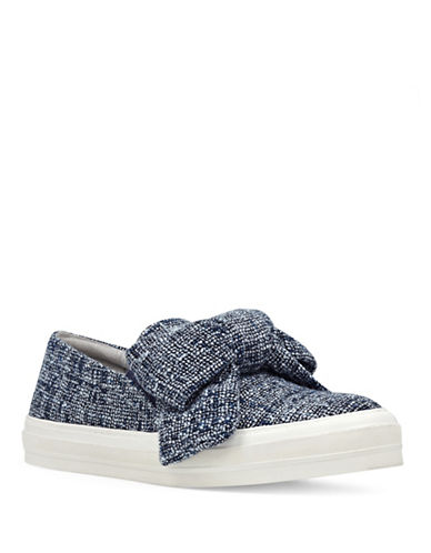 Nine West Boucle Bow Slip-On Sneakers-BLUE-8