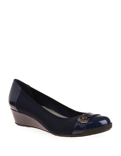 Anne Klein Carly Stretch Fabric Wedge Heels-NAVY-10