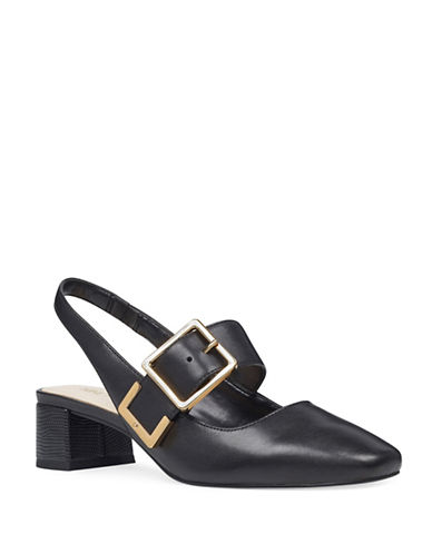 Nine West Buckle Top Leather Pumps-BLACK-5.5