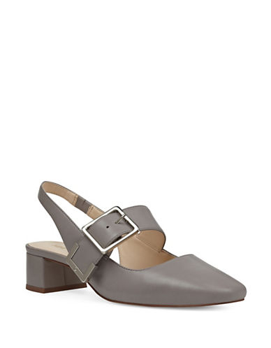 Nine West Buckle Top Leather Pumps-GREY-7.5