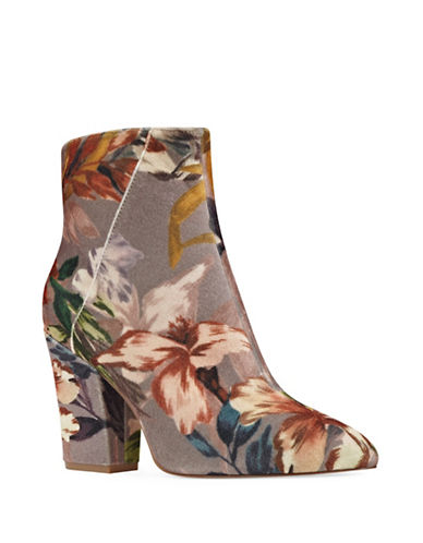 Nine West Floral Chelsea Boots-BROWN-7