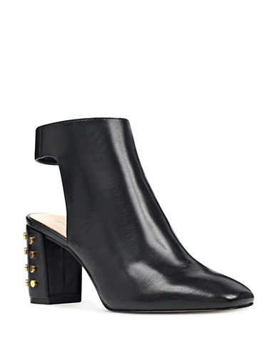 Nine West Studded Heel Booties-BLACK-7.5