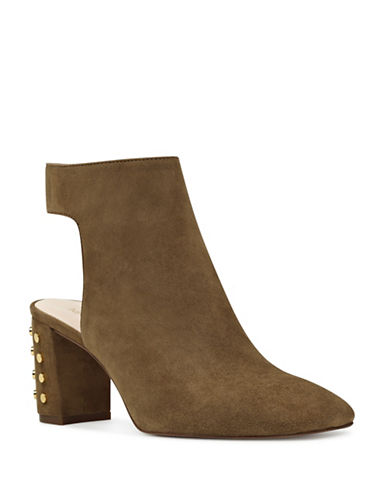 Nine West Xtravert Suede Booties-OLIVE-8.5