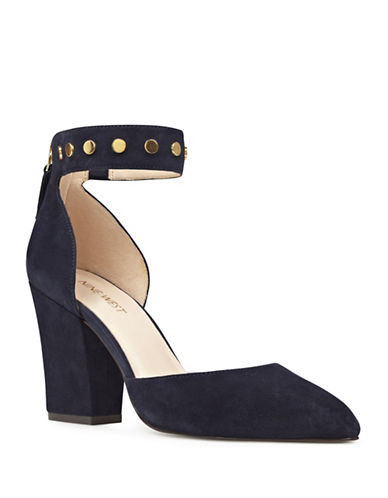 Nine West Studded Ankle Strap Leather Pumps-BLUE-10