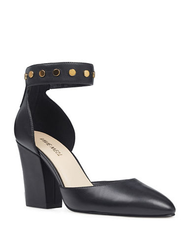 Nine West Leather Ankle Strap Pumps-BLACK-6