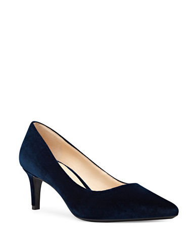 Nine West 9X9 Leather Pointed Toe Pumps-BLUE-8.5