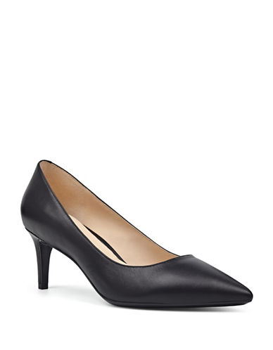 Nine West Monochrome Leather Pumps-BLACK-7.5