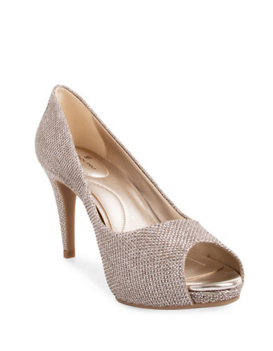 Bandolino Rainaa Stiletto Heel Peep Toe Pumps-GOLD-9.5