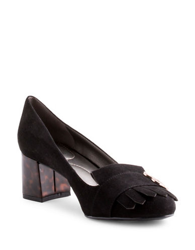 Bandolino Olale Velvet Heeled Loafers-BLACK-8.5