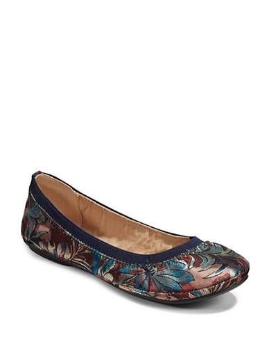 Bandolino Floral-Stitch Ballet Flats-NAVY-8.5