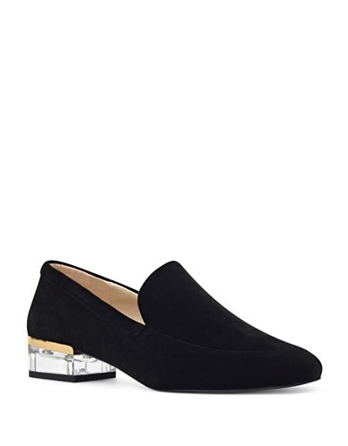Nine West Lucite Heel Loafers-BLACK-5