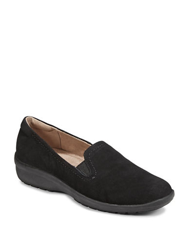 Easy Spirit Leather Slip-On Wedge Shoes-BLACK-6W