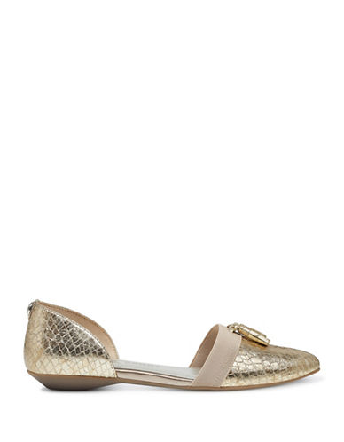 Anne Klein Oksie Slip-On dOrsay Flats-GOLD-8.5
