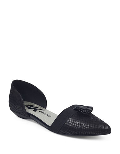 Anne Klein Oksie Slip-On dOrsay Flats-BLACK-5.5
