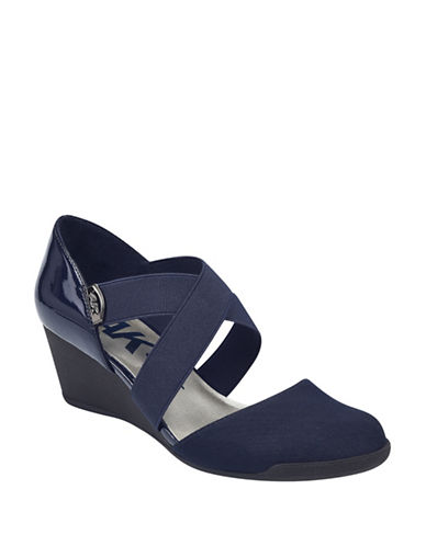 Anne Klein Teaberry Two-Piece Mary Jane Wedge Sandals-NAVY-7.5