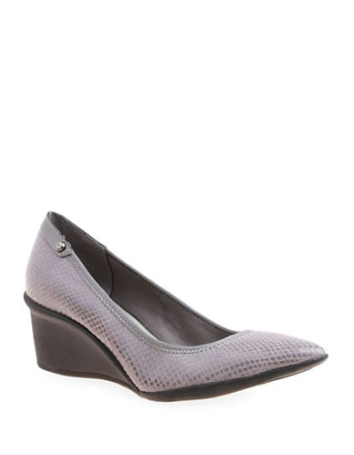 Anne Klein Rush Hour Snake-Look Pointed Toe Wedges-PEWTER SNAKE-10