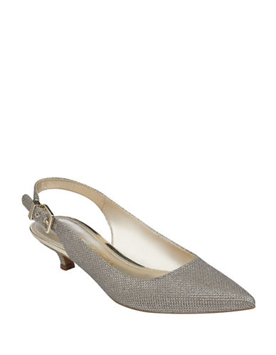Anne Klein Expert Point Toe Slingback Pumps-GOLD-7.5