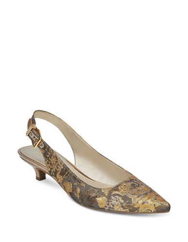Anne Klein Expert Point Toe Slingback Pumps-GREY/GOLD-7.5
