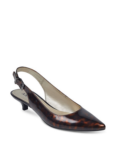 Anne Klein Expert Point Toe Slingback Pumps-BROWN MULTI-9
