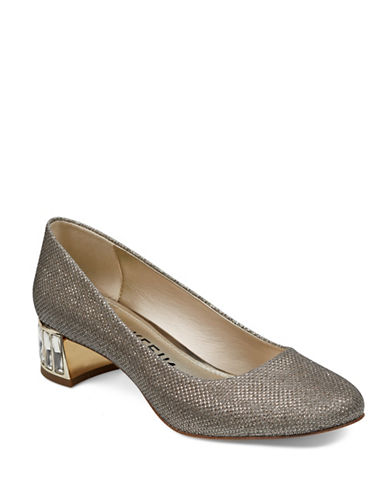 Anne Klein Crystal Embellished Satin Pumps-GOLD-7.5