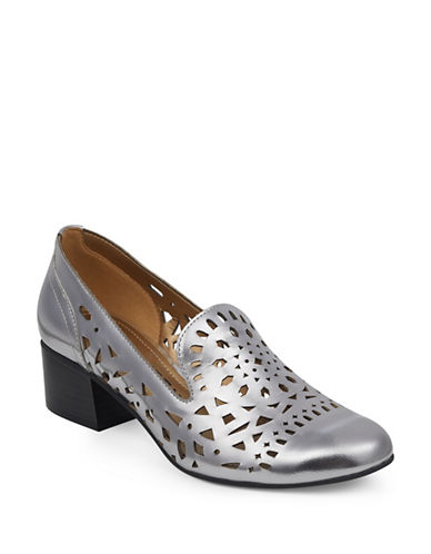 Anne Klein Judeena Block Heel Pumps-DARK SILVER-7