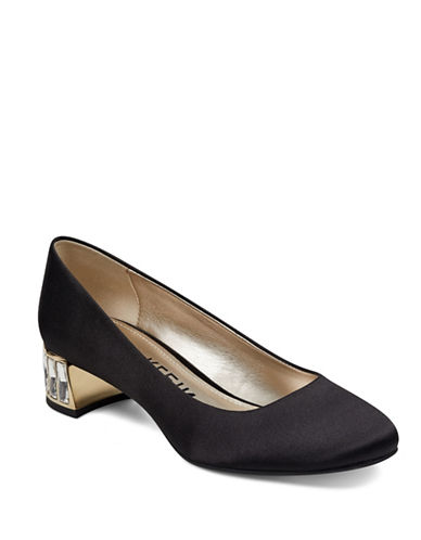 Anne Klein Crystal Embellished Satin Pumps-BLACK-8.5