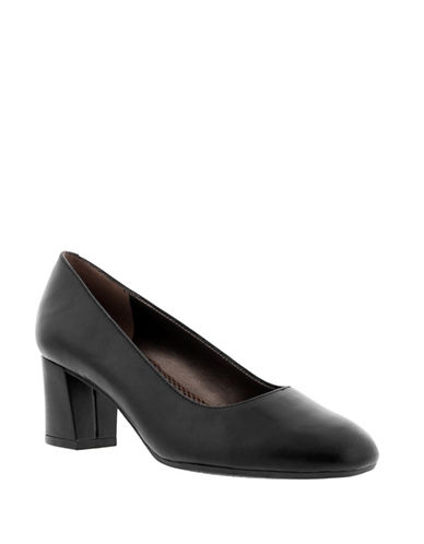 Easy Spirit Rubie Leather Pumps-BLACK-9.5