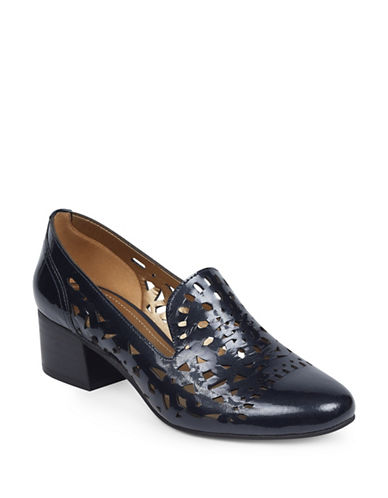 Anne Klein Judeena Block Heel Pumps-NAVY-7.5