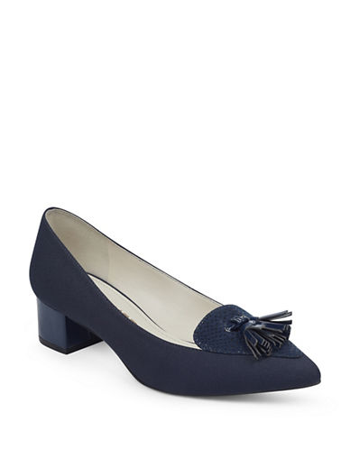 Anne Klein Mina Block Heel Shoes-NAVY-9.5