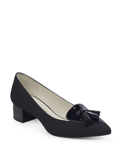 Anne Klein Mina Block Heel Shoes-BLACK-8.5
