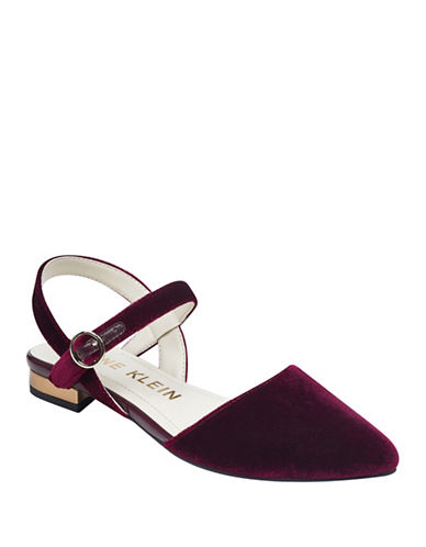 Anne Klein Odell Velvet Open Back Flat Sandals-WINE-8