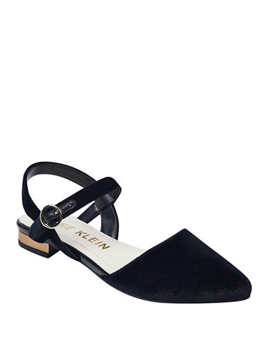 Anne Klein Odell Velvet Open Back Flat Sandals-BLACK-5.5