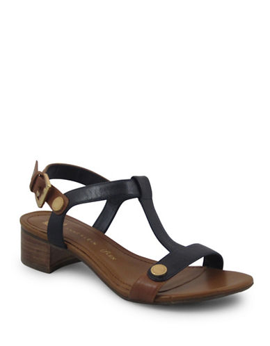 Anne Klein Ebber Leather T-Strap Sandals-NAVY/BROWN-8