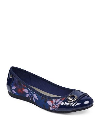 Anne Klein Azi Cap Toe Flats-NAVY FLORAL-5.5