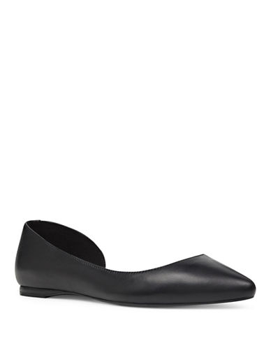 Nine West Solid Tech Leather Ballet Flats-BLACK-7.5