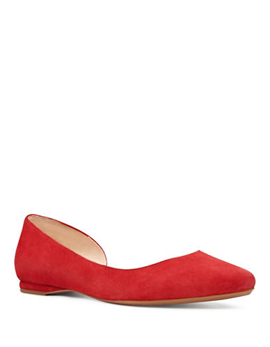 Nine West 9X9 Suede dOrsay Flats-RED-7.5