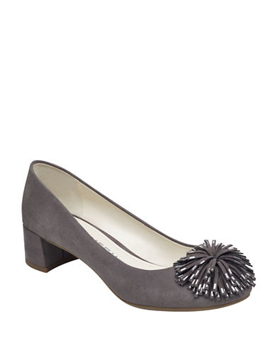 Anne Klein Happy Pompom Suede Pumps-DARK GREY-8.5