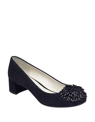 Anne Klein Happy Pompom Suede Pumps-BLACK-6
