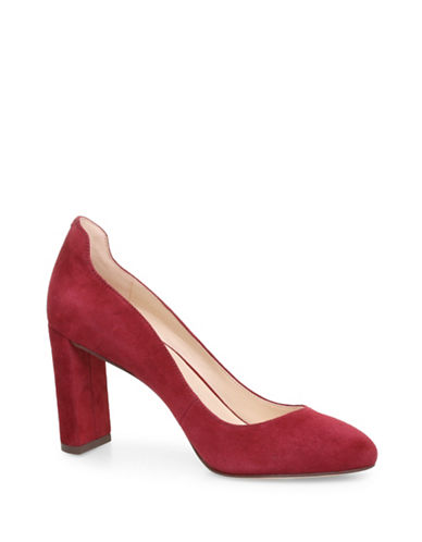 Nine West Almond Toe Suede Pumps-RED-6.5