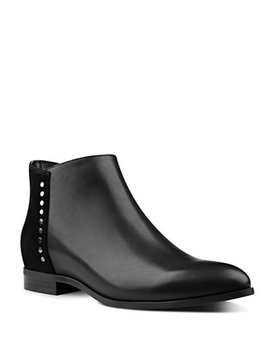 Nine West Oleary Leather Stud Ankle Boots-BLACK-8.5