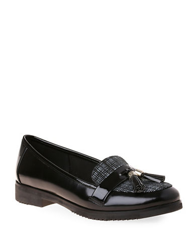 Anne Klein Haylen Tassel Loafers-BLACK/WHITE-10