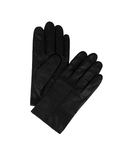 Calvin Klein Raised Point Leather Gloves-BLACK-Medium
