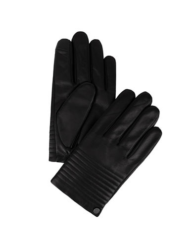 Calvin Klein Quilted Driver Leather Gloves-BLACK-Large
