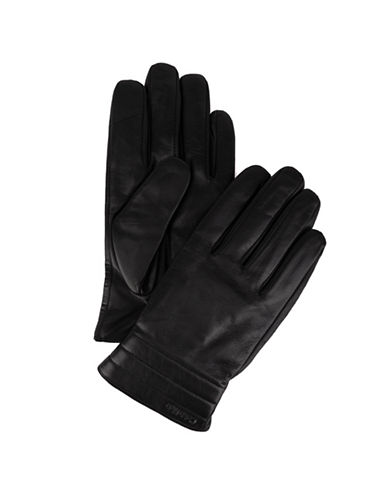 Calvin Klein Quilted Leather Gloves-BLACK-X-Large