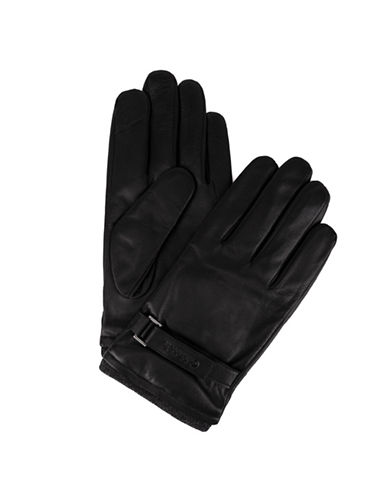 Calvin Klein Knit Insert Leather Gloves-BLACK-Small