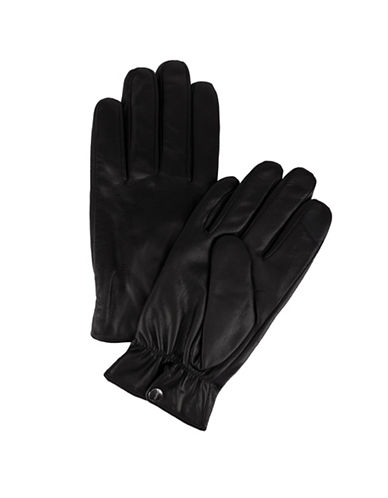Calvin Klein Snap Closure Leather Gloves-BLACK-Small