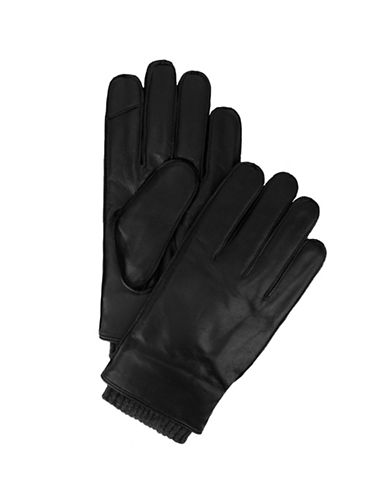 Tommy Hilfiger Knit-Trim Leather Gloves-BROWN-Large