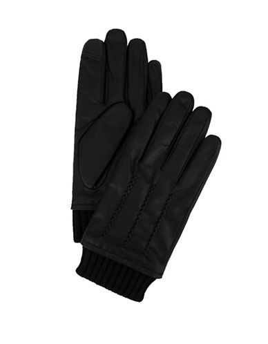 Tommy Hilfiger Knit-Cuff Leather Gloves-BLACK-Large